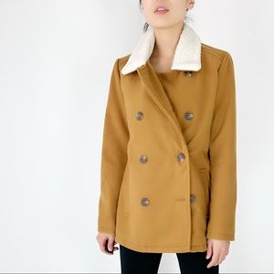 Faux shearling collar double breasted coat